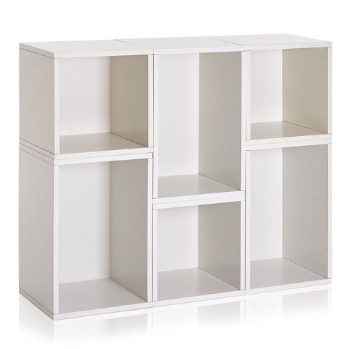 Way Basics Blox System Naples Eco zBoard Tool Free Assembly White Stackable Modular Open Bookcase