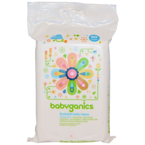 Babyganics Flushable Baby Wipes Fragrance Free - 60 CT
