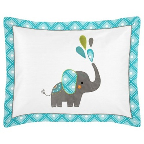 Turquoise & White Mod Elephant Bedding Set (Toddler) - Sweet Jojo Designs