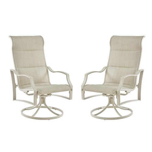 Hampton Bay Statesville Shell Swivel Aluminum Sling Outdoor Lounge Chair (2-Pack)
