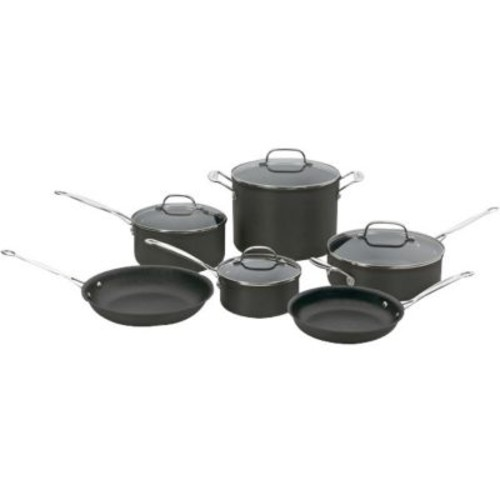 Cuisinart Chef's Classic Stainless Steel 10-Piece Non-Stick Cookware Set, Black