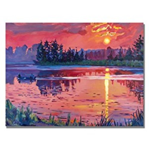Daybreak Reflection by David Lloyd Glover, 18x24-Inch Canvas Wall Art [18 by 24-Inch]
