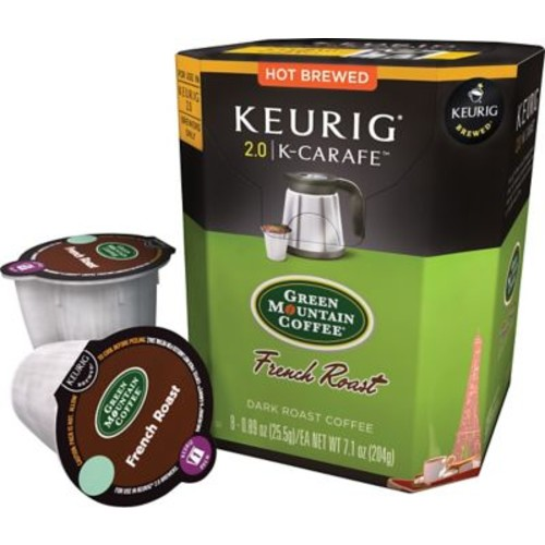 Keurig 2.0 K-Carafe Pack Green Mountain French Roast Coffee, 8/Pack