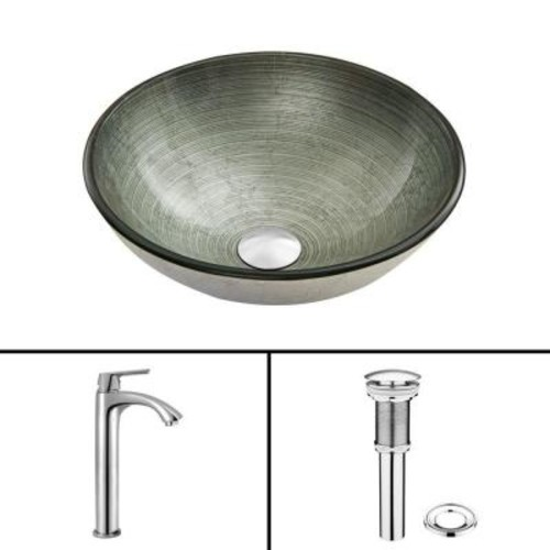 VIGO Glass Vessel Sink in Simply Silver and Linus Faucet Set in Chrome