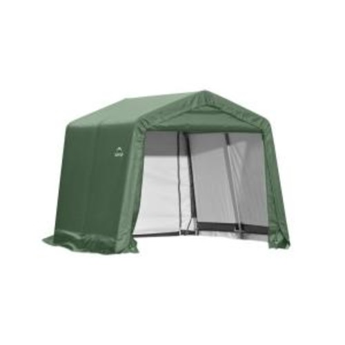 ShelterLogic 11 ft. x 12 ft. x 10 ft. Green Steel and Polyethylene Garage without Floor