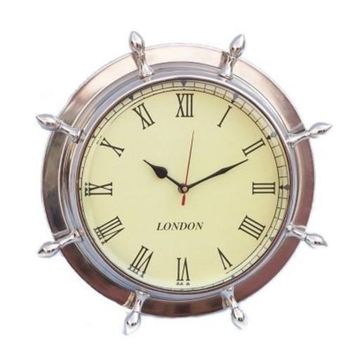 Handcrafted Nautical Decor Ship Wheel 15'' Clock; Chrome