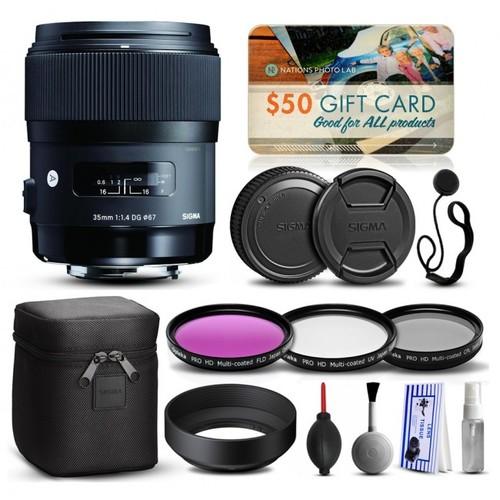 Sigma 35mm F1.4 DG HSM Art Lens for Sony + Beginner Accessory Kit 340205