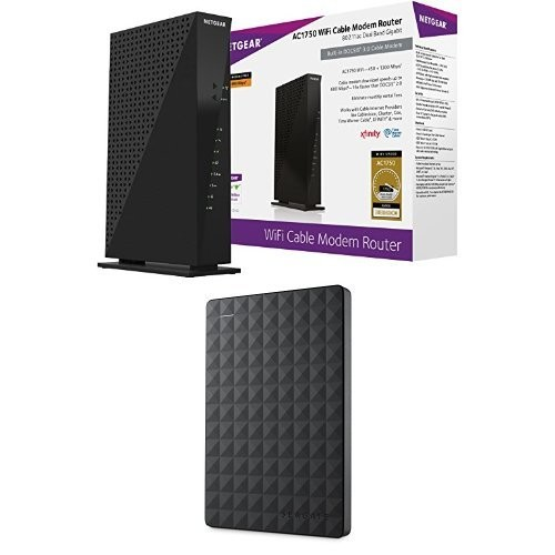 NETGEAR AC1750 Wi-Fi DOCSIS 3.0 Cable Modem Router (C6300) & Seagate Expansion 1TB Portable External Hard Drive USB 3.0 (STEA1000400)