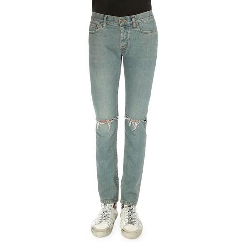SAINT LAURENT Destroyed-Knee Five-Pocket Jeans, Light Blue
