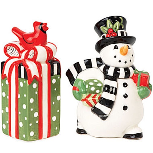 Fitz and Floyd Frostys Frolic Snowman Salt and Pepper Shakers