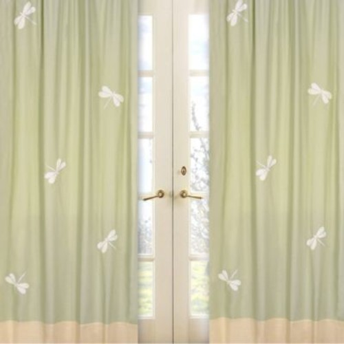 Sweet Jojo Designs Dragonfly Dreams Window Panel Pair in Green