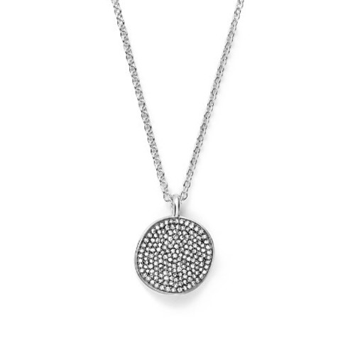 Sterling Silver Glamazon Stardust Small Pav Disc Necklace with Diamonds, 16