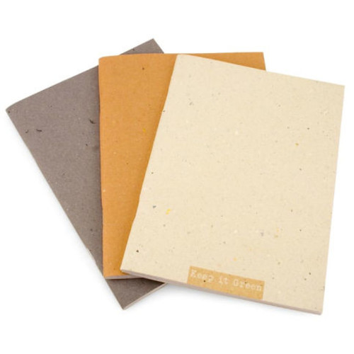 Keep It Green Italian Recycled Paper Natural Color Notebooks -Set of 3 6 X 8