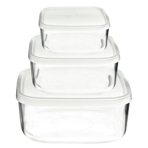 Bormioli Rocco Frigoverre 3 Piece Square Glass Food Storage Container Set