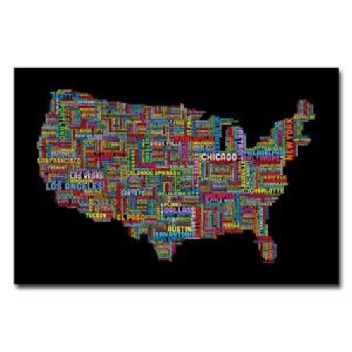 Trademark Fine Art 22 in. x 32 in. US Cities Text Map II Canvas Art