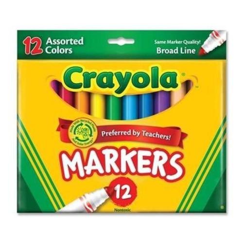 Crayola CRA-58-7712 Classic Non-Washable Marker, Broad-Line, 12 Colors/Set [1-set]