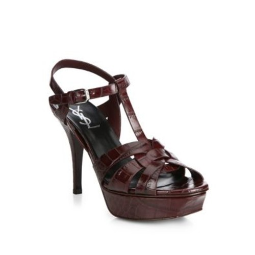 SAINT LAURENT Tribute Croc-Embossed Leather Platform Sandals