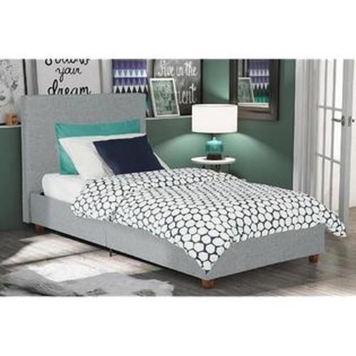 Dorel DHP Alexander Linen Upholstered Bed, Twin, Light Grey