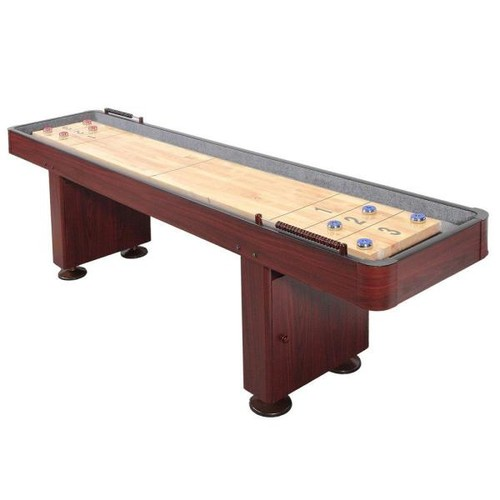 Hathaway Challenger 12 ft. Shuffleboard Table w/ Storage Cabinets, Climate Adjusters, Leg Levelers, 8 Pucks, Brush and Wax