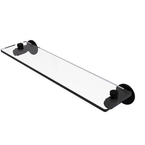 Allied Brass Tribecca Collection 22 in. Glass Vanity Shelf with Beveled Edges in Matte Black