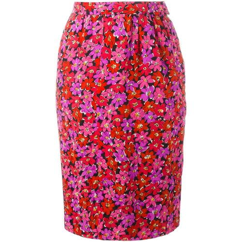 YVES SAINT LAURENT VINTAGE Floral Print Pencil Skirt