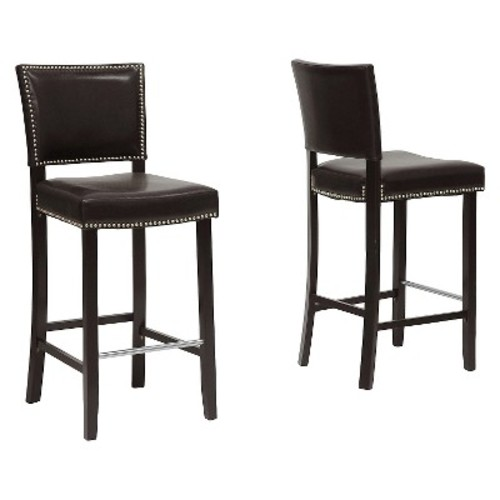 Aries Bar Stool with Nail Head Trim - Dark Modern (Set of 2) - Baxton Studio