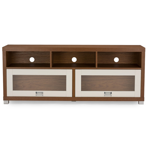 Baxton Studio Swindon Modern Two-tone Walnut and White TV Stand with Glass Doors