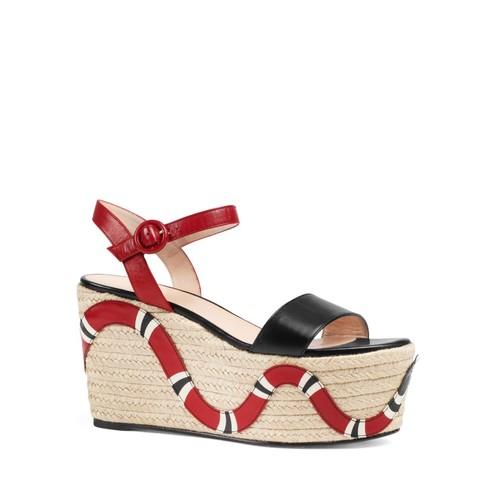GUCCI Barbette Ankle Strap Platform Wedge Sandals