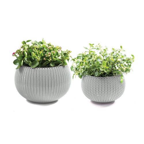 Keter Knit Cozies 2-Pc. Planter Set - Oasis White
