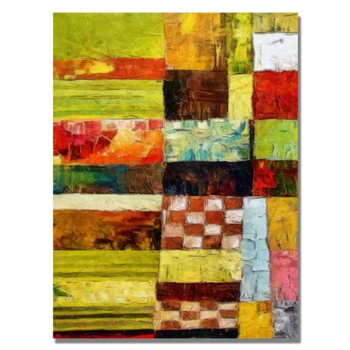 Trademark Global Michelle Calkins 'Checkers and Stripes' Canvas Art [Overall Dimensions : 35x47]