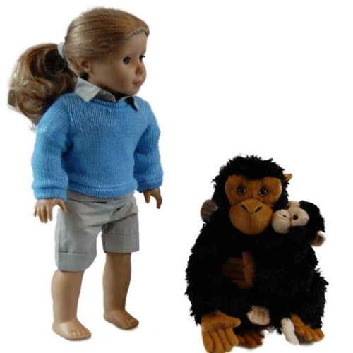 The Queen's Treasures Mother & Baby Plush Chimpanzee for use with 18