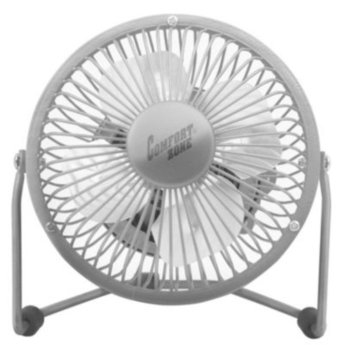 Comfort Zone 4-Inch Cradle High Velocity Dual Powered Fan in Chrome