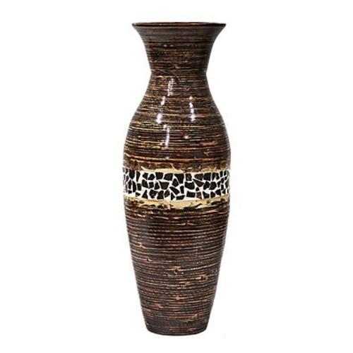 Heather Ann Floor Vase; Distressed Brown Glossy