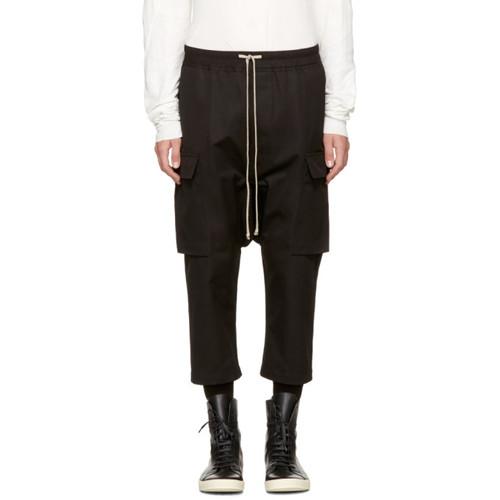 Black Drawstring Cropped Cargo Pants