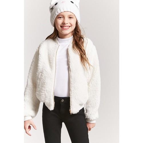 Girls Faux Shearling Bomber Jacket (Kids)