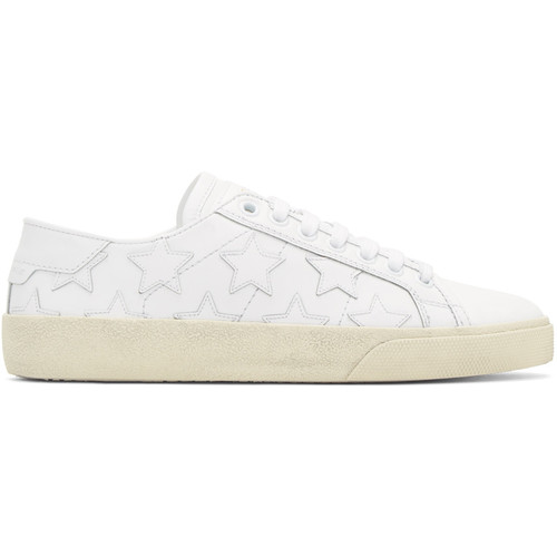 SAINT LAURENT White Stars Court Classic Sneakers