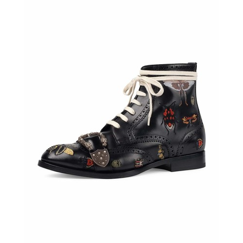 GUCCI Queercore Embroidered Leather Brogue Boot