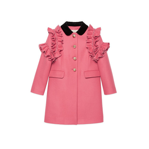 GUCCI Ruffle-Trim Wool Coat, Size 4-12