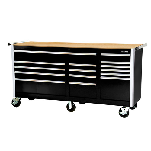Craftsman 75 in. 15-Drawer Storage Cabinet with Hard Wood Top and Ball Bearing Slides, Black