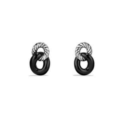 Belmont Curb Link Drop Earrings with Black Onyx