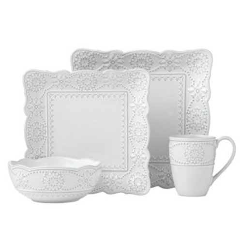 Lenox French Carved Square 16-Piece Dinnerware Set in White