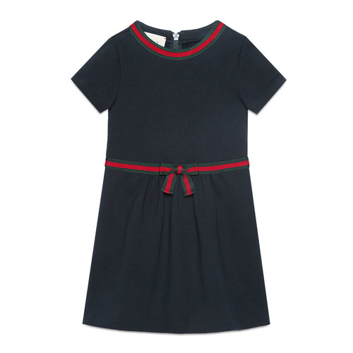 GUCCI Short-Sleeve Web Ribbon Dress, Size 4-12
