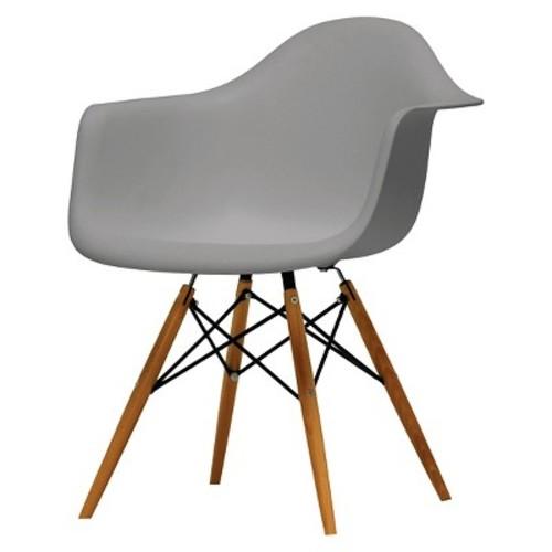 Pascal Plastic Mid-Century Modern Shell Chair - Grey (Set of 2) - Baxton Studio