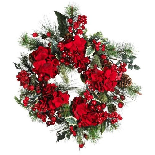 Nearly Natural 22 in. Holiday Hydrangea Wreath