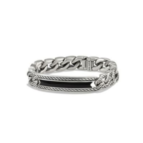 Maritime Onyx & Sterling Silver Curb Link ID Bracelet