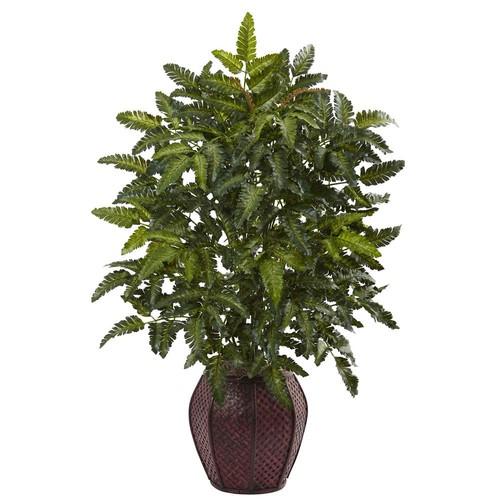 Nearly Natural Bracken Fern with Decorative Planter