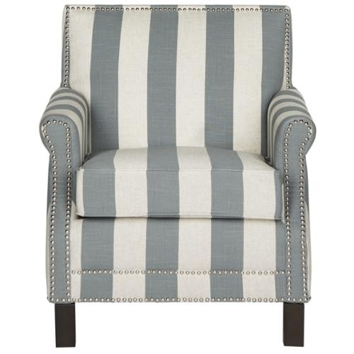 Safavieh Easton Grey/ White Stripe Silver Nail Heads With Awning Stripes Club Chair