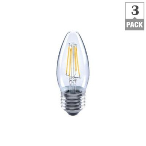 EcoSmart 25W Equivalent Soft White Classic Glass B11 Dimmable Filament LED Light Bulb (3-Pack)
