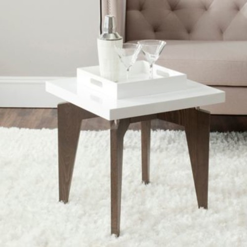 Safavieh Josef End Table in White/Brown