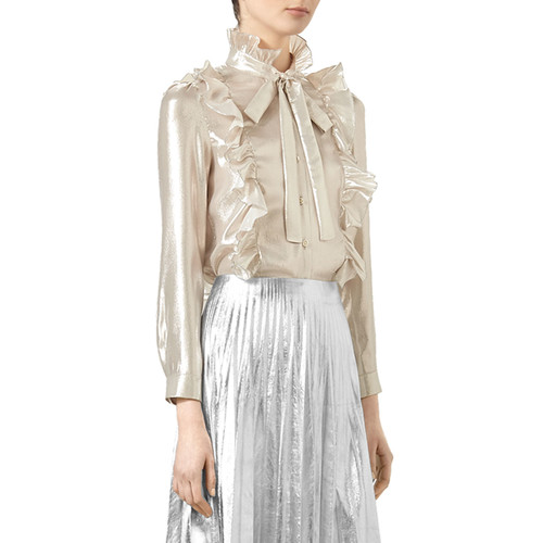 GUCCI Button-Front Lurex® Blouse, Silver